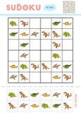 Sudoku pour des enfants, jeu d'éducation Ensemble de dinosaurs illustration stock