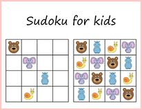 Sudoku pour des gosses Jeu pour les enfants préscolaires, logique s'exerçante Fiche de travail pour des enfants illustration stock