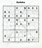 Sudoku puzzle. Too tough Sudoku puzzle Royalty Free Stock Images