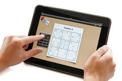 Sudoku puzzle on apple ipad Stock Photos