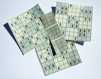 Sudoku puzzle with solution Stock Image