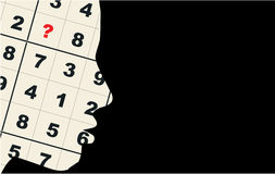 Sudoku thoughts puzzle Royalty Free Stock Photos