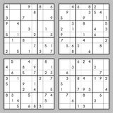 Sudoku vector set. Vector set of sudoku. Puzzles with numbers Royalty Free Stock Image