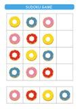Sudoku voor jonge geitjes Het blad van de jonge geitjesactiviteit Opleidingslogica, onderwijsspel Sudokuspel met kleurrijke donut vector illustratie