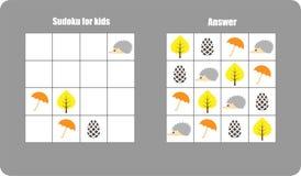 Sudokuspel met de paraplu van de herfstbeelden, blad voor kinderen, gemakkelijk niveau, onderwijsspel voor jonge geitjes, peutera royalty-vrije illustratie