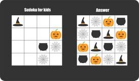 Sudokuspel met Halloween-beeldenspinneweb, pompoen voor kinderen, gemakkelijk niveau, onderwijsspel voor jonge geitjes, peuteraan stock illustratie