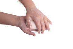 Sudsy handen met zeep Stock Foto