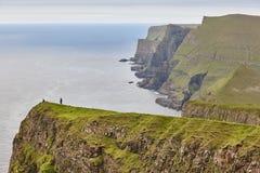 Suduroy island dramatic coastline and cliffs in Faroe archipelago. Faroese