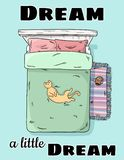 Sueñe un pequeño sueño Gato lindo que miente en el vientre de la cama para arriba Visión superior Imagen del estilo de la histori ilustración del vector