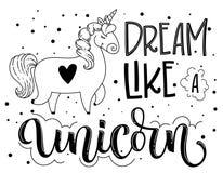 Sueño como un texto aislado exhausto el poner letras negro de la mano del unicornio con el ejemplo lindo del unicornio de la hist ilustración del vector