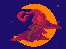 Sueño de Dreamgirl en la luna ilustración del vector