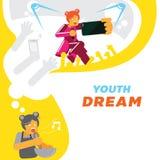 Sueño de la muchacha de la juventud para el fondo de la estrella del cantante Imágenes de archivo libres de regalías