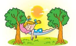 Sueño de una muchacha en una hamaca ilustración del vector