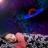 Sueño del espacio de la muchacha imagenes de archivo