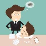 Sueño del hombre de negocios en su escritorio de oficina stock de ilustración