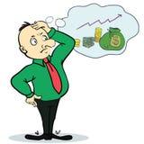 Sueño del hombre sobre el dinero Personaje de dibujos animados del concepto Foto de archivo libre de regalías