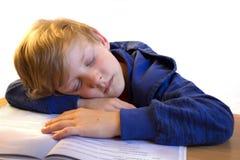 Sueño del muchacho en el libro Foto de archivo libre de regalías