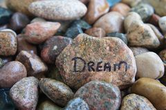 Sueño escrito en una roca Imagen de archivo