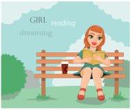 Sueño y el placer de la lectura Fotos de archivo libres de regalías