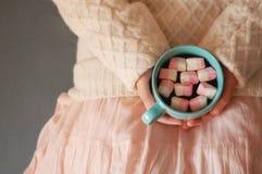 Sueños acogedores del marshmаlow rosado de una chica joven Imágenes de archivo libres de regalías