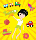 Sueños de los niños con muchos juguetes y transporte Fotografía de archivo libre de regalías