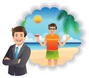 Sueños de un hombre de negocios de los jóvenes de vacaciones en la playa Foto de archivo libre de regalías