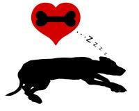 Sueños del perro de huesos ilustración del vector