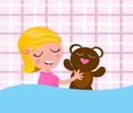 Sueños dulces: Niño y oso de peluche durmientes Foto de archivo libre de regalías