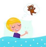 Sueños dulces: Niño y oso de peluche durmientes Imagenes de archivo