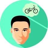 Sueños morenos del hombre de una bicicleta Estilo plano Adolescente de moda encendido stock de ilustración