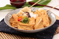 Sue fried fish paste tofu soup with mushroom and onion on chines Stock Photo