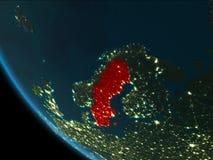 Suecia en la noche de la órbita stock de ilustración
