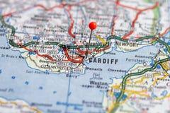 Suecia Estocolmo, el 7 de abril de 2018: Ciudades europeas en series del mapa Primer de Cardiff imagen de archivo libre de regalías