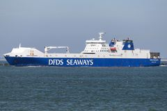 SUECIA SEAWAYS outbound Rotterdam. DFDS Seaways is a large Danish shipping company operating passenger and freight services across Northern Europe stock images