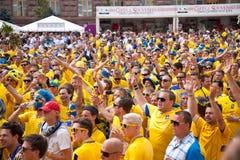 Suecia y los ventiladores ucranianos llegaron Fotografía de archivo libre de regalías