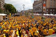 Suecia y los ventiladores ucranianos llegaron Fotos de archivo libres de regalías