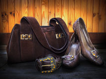 Suede bag, leather shoes and belt Stock Images