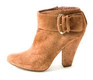 Suede belted high heel bootie Stock Images