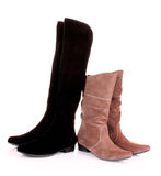 Suede boots. Isolated on the white background Royalty Free Stock Images