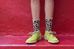 Boots and Funky Socks stock image