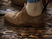 Suede brogue shoe Stock Image