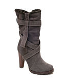 Suede gray boot Royalty Free Stock Photo