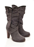 Suede gray boots Royalty Free Stock Images