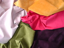 Suede leather scrunched up. Five colours of suede leather scrunched up Stock Photo