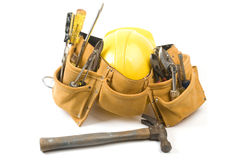 Suede Leather Tool Belt With Protective Hard Hat Stock Images