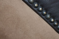 Suede And Leather Upholstery Joined With Studs Stock Images