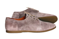 Suede men's shoes beige colors Stock Images