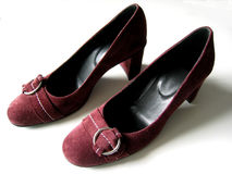 Suede shoes. Pair of women's shoes stock photos
