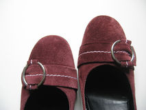 Suede shoes- noses. Close up of women's shoes Stock Photography