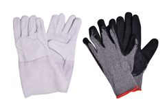 Suede and textile mittens for  workers isolated on white background royalty free stock photo
